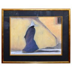Original Mid-Century Modern Signed Golden Framed Fine Art by Artist M. Aronoff