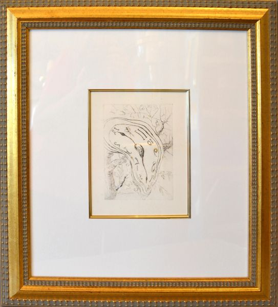 Gold Framed Salvador Dali Inspired Etching Print Melting Clock