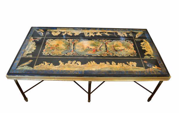 Italian Maison Jansen Hand Painted Slate Marble & Bronze Low Coffee Table 1920s