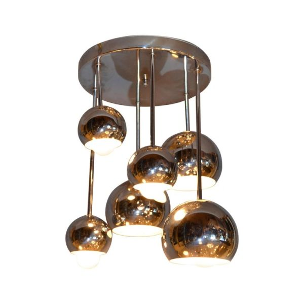 Round Vintage Space Age Six Light Chrome Ball Ceiling Light Fixture Flush Mount