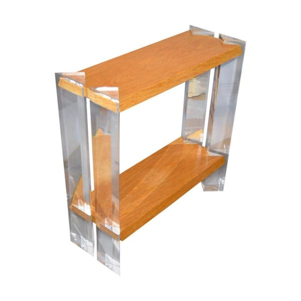 Italian Mid-Century Modern Oak & Acrylic Two Tier Console Table, Bookshelf 1960s