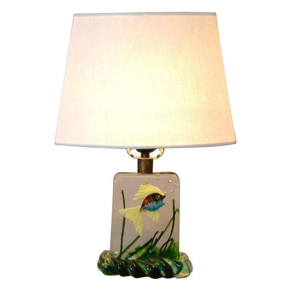 Gino Cenedese Murano Glass Table Lamp & Shade with Fish and Seaweed, Italy 1950
