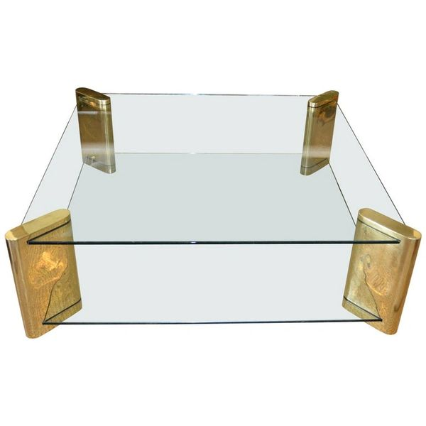 Karl Springer Mid-Century Modern Brass & 2-Tier Glass Coffee Table, Signed