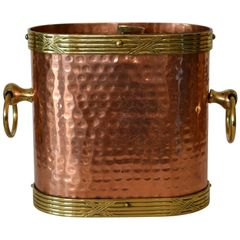 Art Deco French Hand Hammered Copper, Brass & Bronze Champagne, Wine Ice Bucket