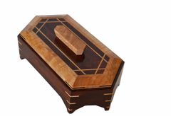 Vintage Two Tone Handcrafted Decorative Mahogany Keepsake Wooden Box With Lid