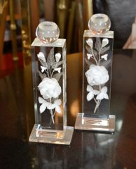 M. Cox Art Deco Clear Acrylic & White Flowers Candle Holders, Candlesticks, Pair