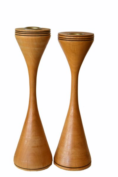 Signed Scandinavian Modern Handcrafted Turned Wood and Brass Candle Holders Pair