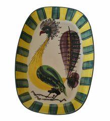 Vintage Denmark Royal Copenhagen Fajance Peacock Bird Pottery Platter Signed BA