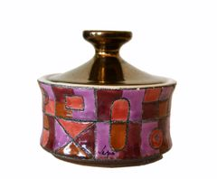 Marked Ceramic Sugar Bowl With Lid in Purple, Bronze & Shades of Maroon Color