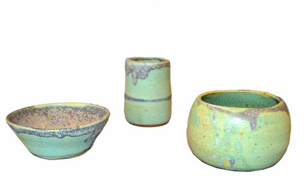 Vintage Handcrafted Aztec Green and Gray Pottery Bowls or Vessel, Set of 3