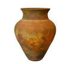 Signed Mid-Century Modern Brown, Blue & Gold American Raku Vase, Vessel, Urn