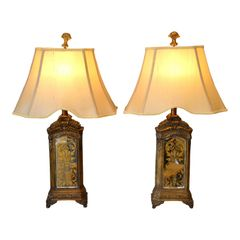 Pair of Bronze Contemporary Mirrored Glass Antique Looking Composite Table Lamps With Shade