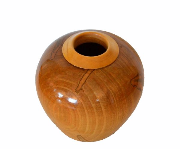 Decorative Folk Art Handcrafted Exotic Wood Lacquered Belly Flower Vase
