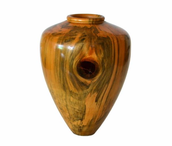 Carl Spinner Decorative American Handcrafted Exotic Turned Wood Lacquered Vase