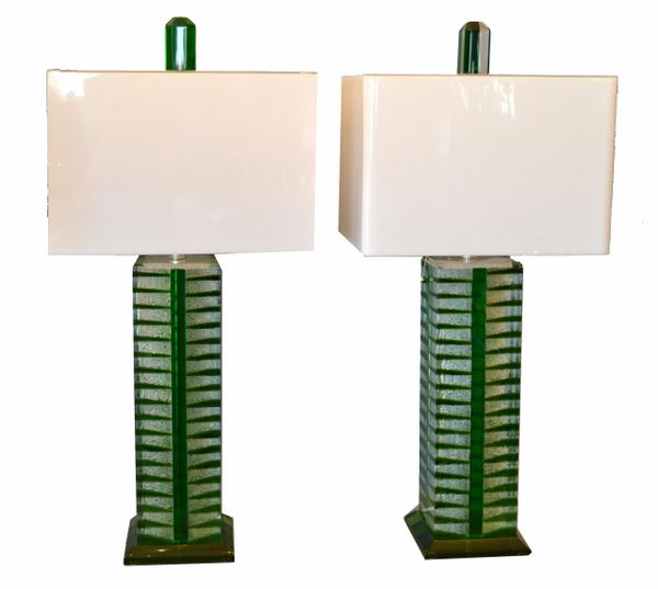 Contemporary Green, White & Clear Lucite, Nickel Table Lamps With Shades - Pair