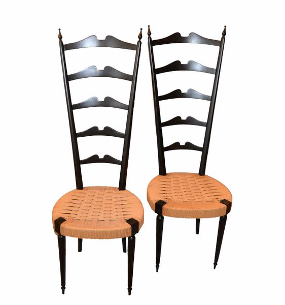 Mid-Century Modern Ladder Back Chairs Woven Rush Seat Paolo Buffa Italy - Pair
