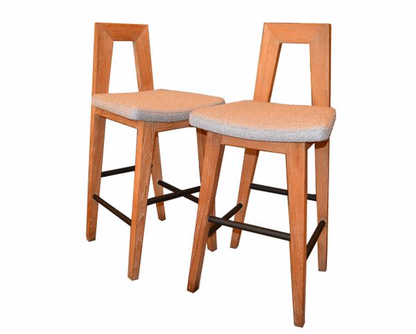Pair of American White Oak and Fabric Mid-Century Modern Counter Height Stools