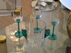 Vintage Icet Arte Murano Clear & Green Wine Glasses with Wine Cooler - Set of 4
