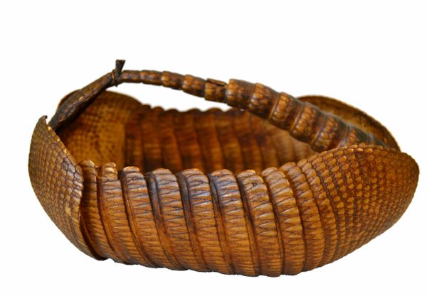 Vintage Life Size Handcrafted Armadillo Shell Basket