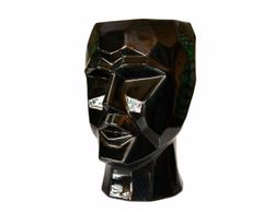 Mid-Century Modern Black & White Cubist Head Glazed Ceramic Vase