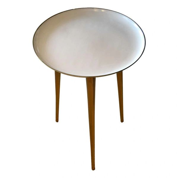 Mid-Century Modern Round Three-Legged Brass & Beige Enamel Side, End Table 1950s