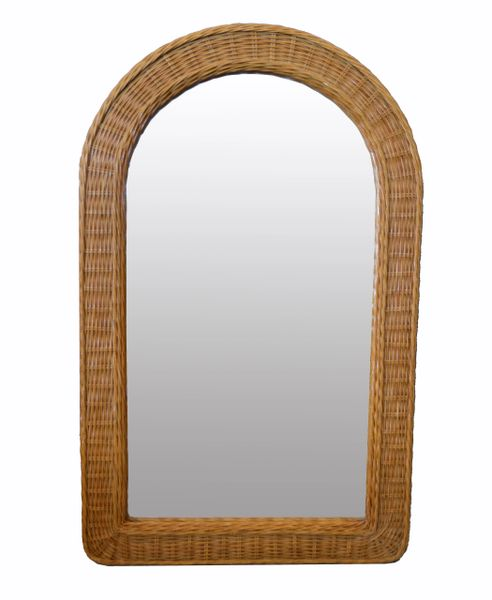 Mid-Century Modern Arch Handwoven Rattan / Wicker Wall Mirror Boho Chic