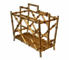 Hollywood Regency Faux Metal Bamboo and Faux Cane Magazine Rack Golden Finish