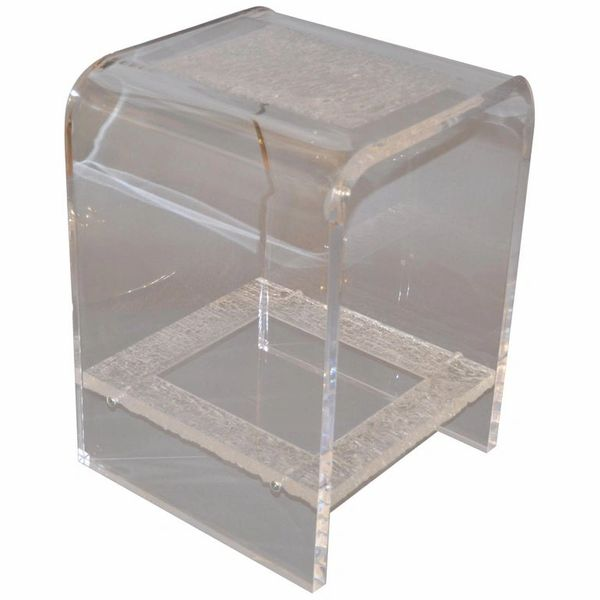 Modern Two-Tier Clear Lucite & Crystallized Lucite Side Table, End Table