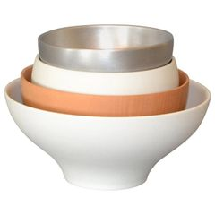 Modern Decorative Bowls White, Silver & Brown in Ceramic Wood & Aluminum - Set 4