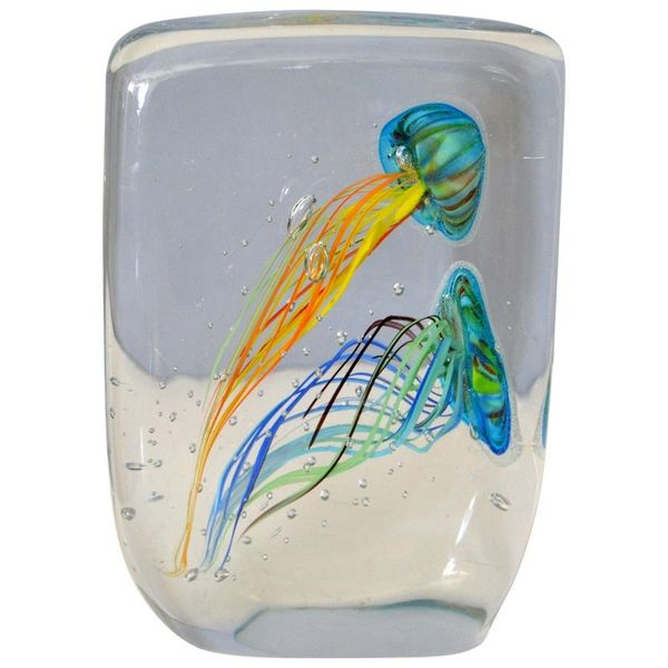 Mid-Century Modern Italian Glass Studio of Murano Handcrafted Fish Aquarium