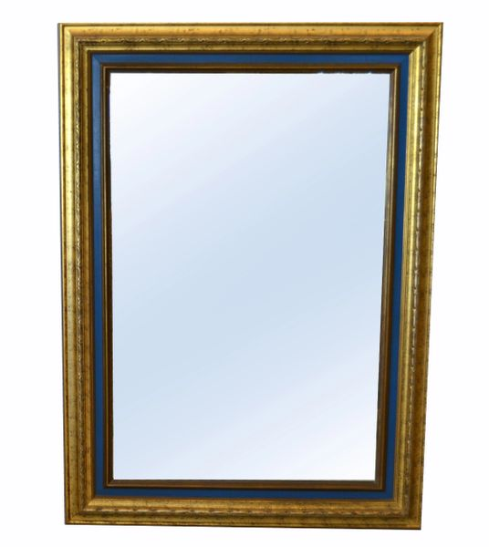 American Hollywood Regency Antique Gold Finished & Blue Wooden Wall Mirror
