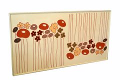 Mid-Century Modern Framed Rectangular Beige Enamel Flower Wall Art