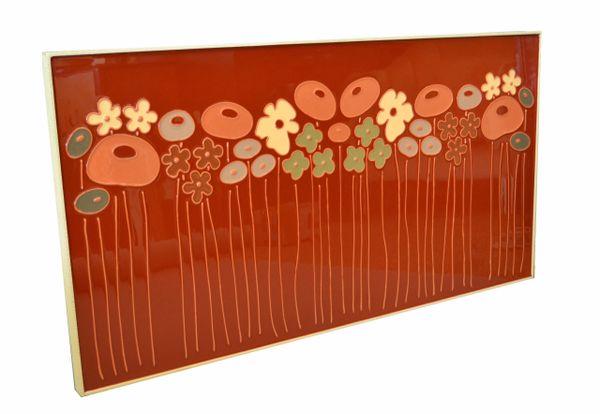 Mid-Century Modern Framed Rectangular Brown & Tan Enamel Flower Wall Art