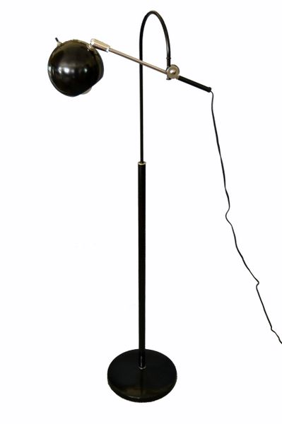 Mid-Century Modern Black Metal Floor Lamp With Adjustable Arm & Round Ball Shade