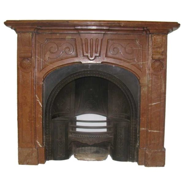 Italian Verona Rosso Marble Fireplace Mantel
