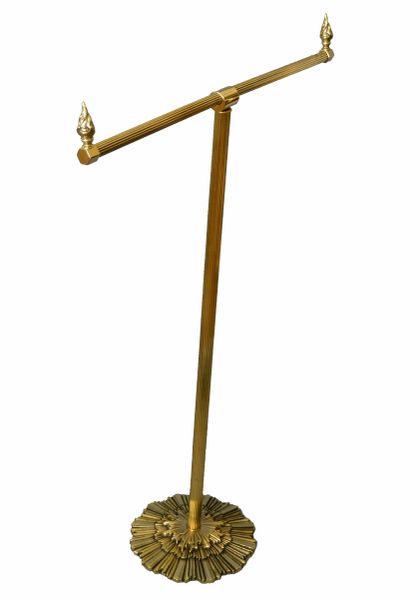 Antique British Colonial Bronze Pedestal Towel Rack, Stand Made in England