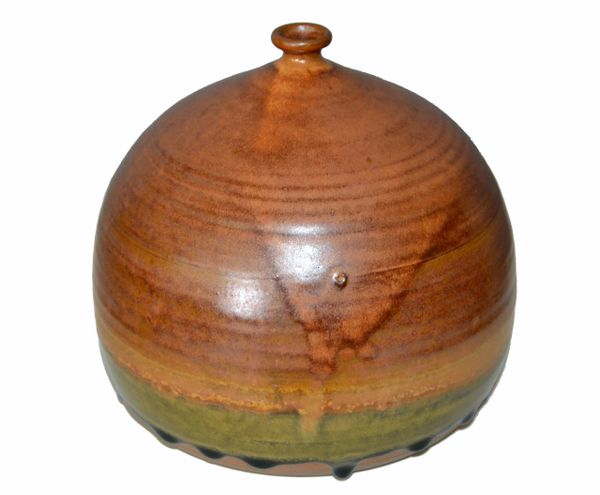 Vintage Earthenware Handcrafted Brown Terra Studio Drip Glaze Bud, Weed Vase