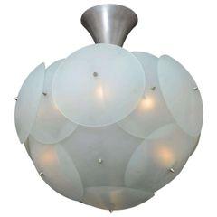 Spectecular Italian Globular Glass Chandelier by Vistosi