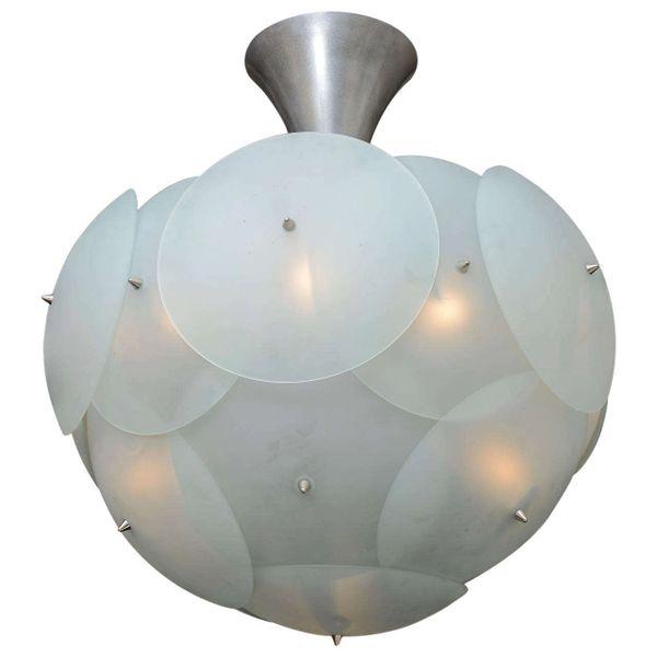Spectecular Italian Globular Murano Glass Chandelier Styled after Vistosi