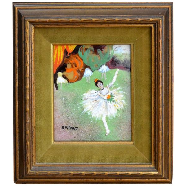 Framed Realism Enamel Painting on Copper by B. Pitney Dancing Ballerina