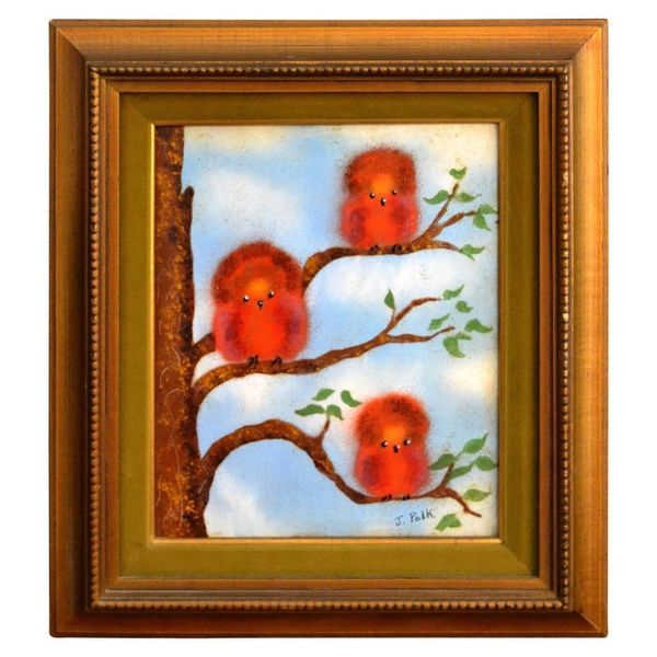 Framed Realism Enamel Painting on Copper by J. Polk Three Birds Sitting on Tree