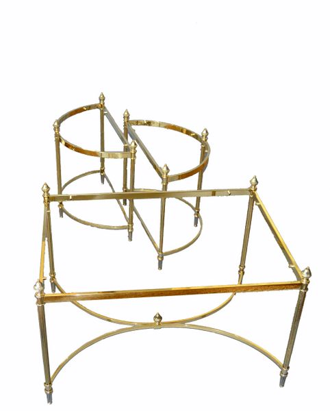French Maison Jansen / Baguès Brass & Glass Three Pieces Coffee Table 1950s