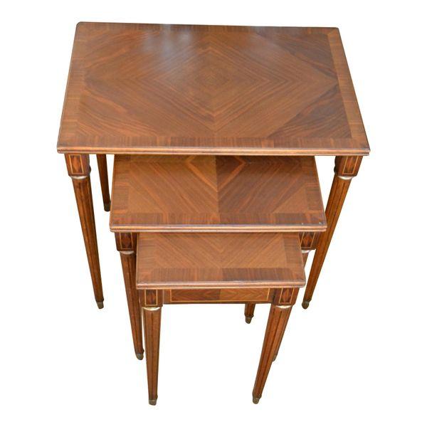 Spanish Colonial Mahogany Nesting Tables / Stacking Tables Brass Sabots - Set 3
