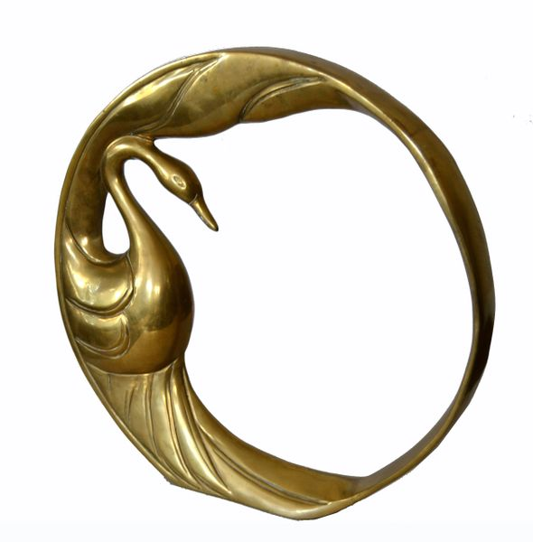 Mid-Century Modern Bronze Golden Swan Ring Table Sculpture by Dolbi Cashier 1984