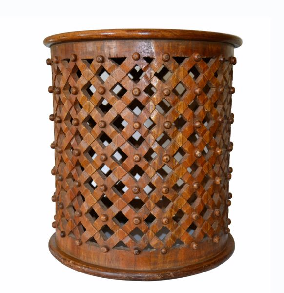 Tribal African Cameroon Hand-Carved Brown Bamileke Drum Stool or Side Table