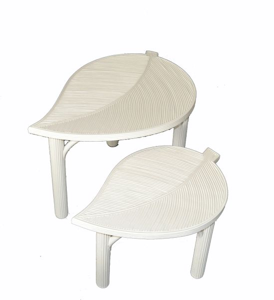Hollywood Regency Two Decorative Leaf Shaped Bamboo & Pencil Reed Side Tables