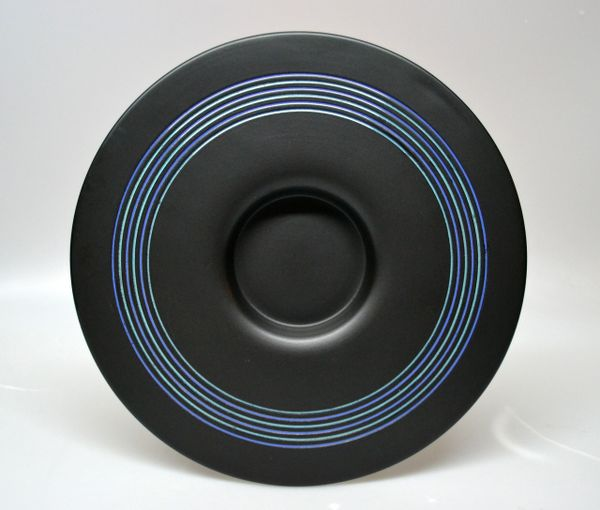 Sicart Ceramic Plate, Centerpiece, Fruit Bowl In Black & Blue by Boccato Italy
