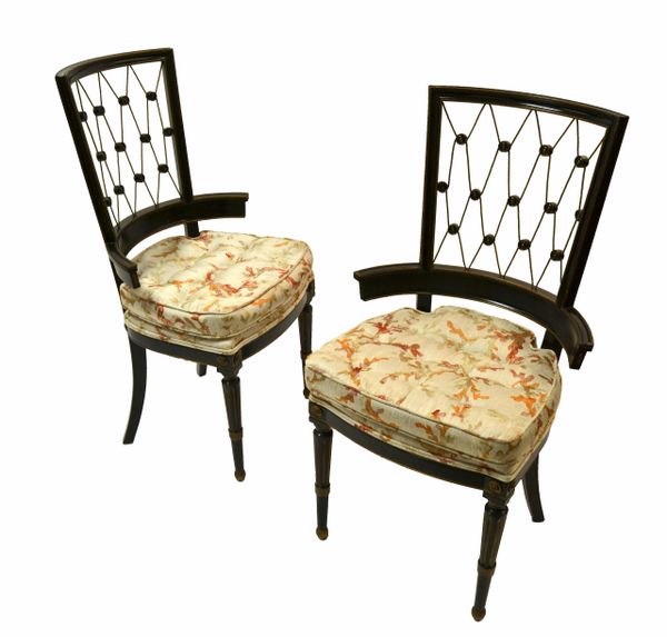 1940s American Intricate Diamond Pattern Back Armchairs in Black & Gold - Pair