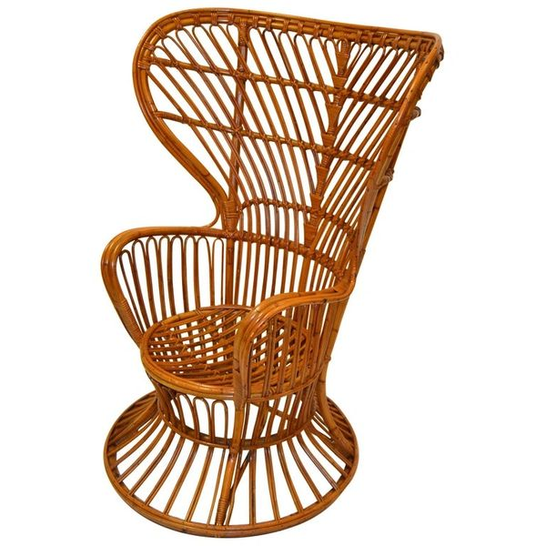 Vintage Franco Albini Hand-Woven Rattan / Wicker High Back Chair, Italy