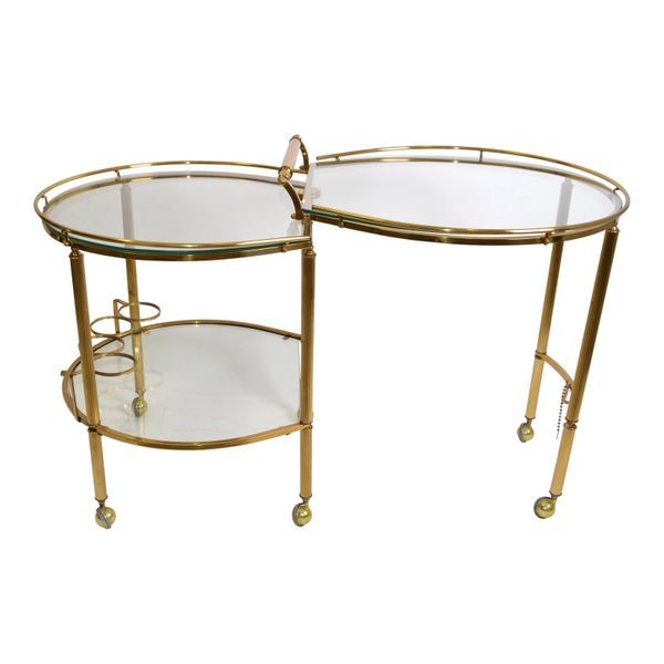 Mid-Century Modern Brass & Glass Extendable Two Table Bar Cart Trolley Italy 60s